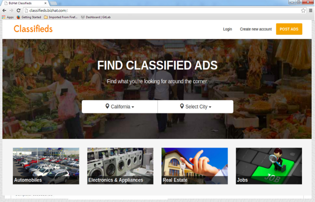 Classifieds category ads